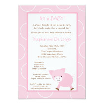 5x7 Farm Animal Pink Pig Baby Shower Invitation