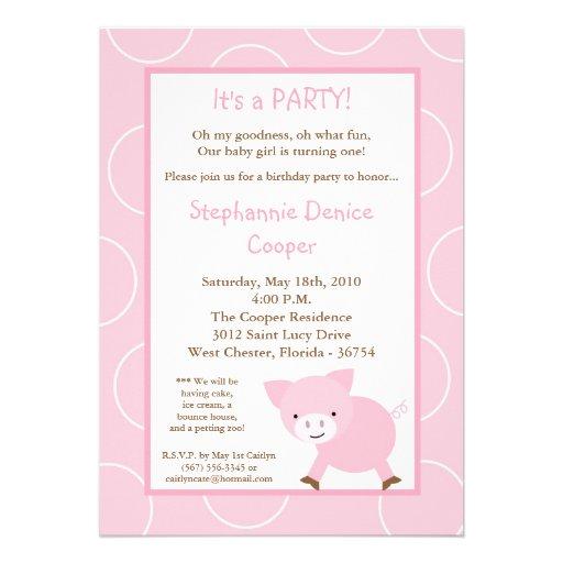 5x7 Farm Animal Pink Pig Birthday Party Invitation