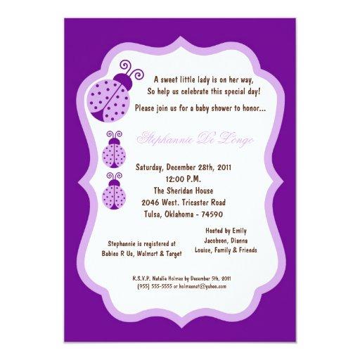 5x7 fiesta de bienvenida al bebé púrpura oscura de comunicados personalizados