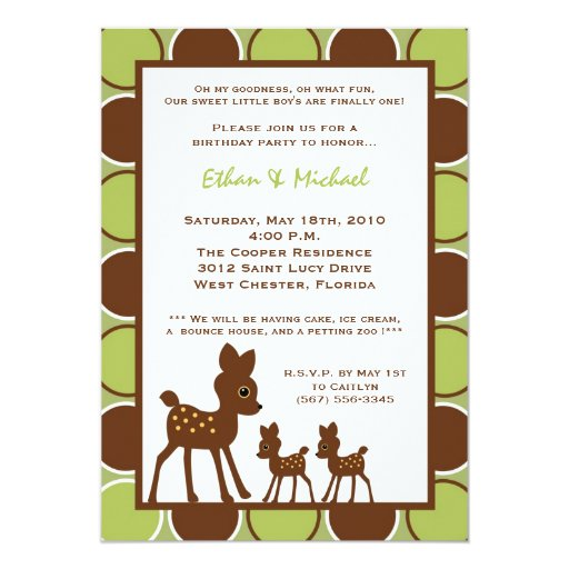 5x7 Forrest Mom TWIN Baby Birthday Part Invitation