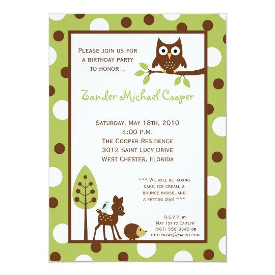 5x7 Forrest Wood Animal Birthday Party Invitation