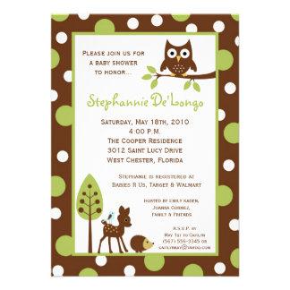 5x7 Forrest Woodland Animal Baby Shower Invitation Custom Announcements