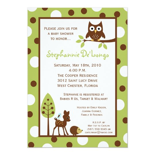 5x7 Forrest Woodland Animal Baby Shower Invitation