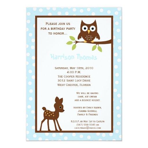5x7 Forrest Woodland Animal Birthday Invitation
