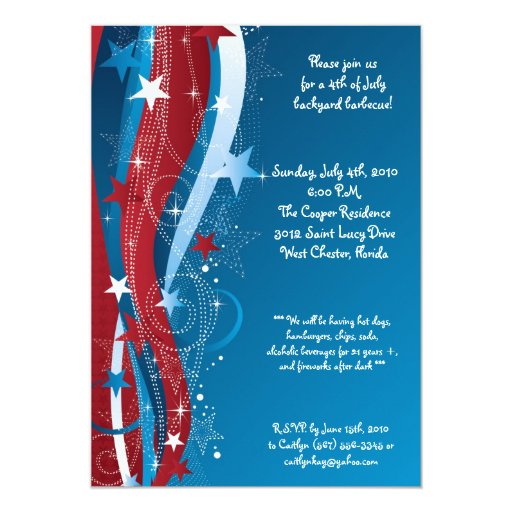 5x7 Fourth 4th of July Party Barbecue Invitation