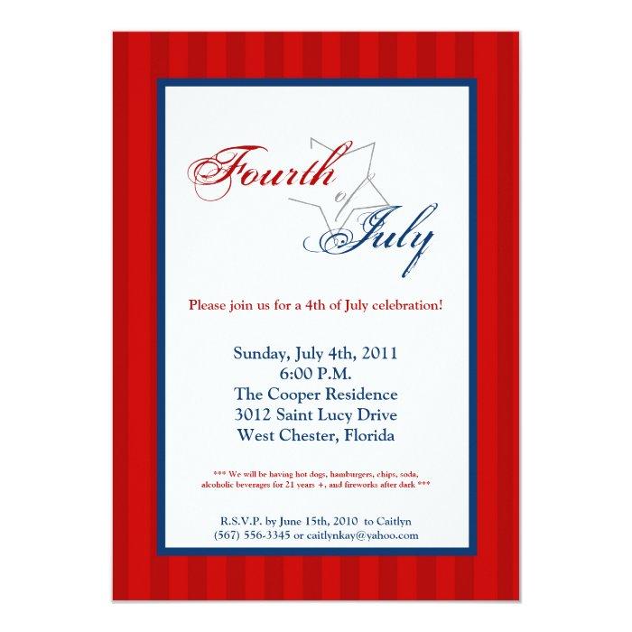 5x7 Fourth 4th of July Party Celebratio Invitation