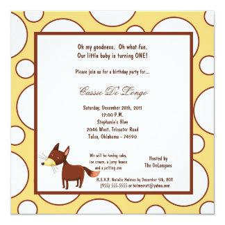 5x7 Fox Pok-a-Dot Birthday Party Invite