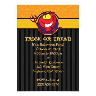 5x7 Funny Red Devil Halloween Party Invitations