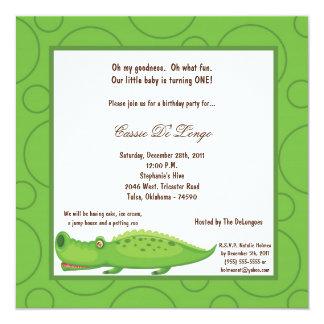 5x7 Gator Pok-a-Dot Birthday Party Invite
