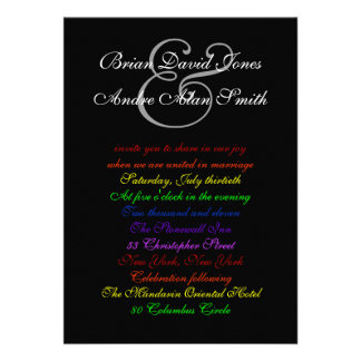 5x7 Gay Wedding Rainbow LGBT Pride Basic Paper Personalized Announcement
