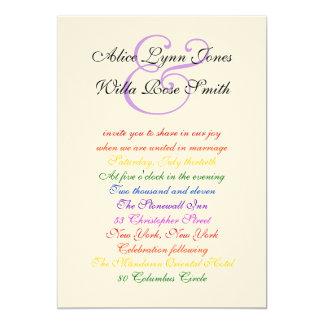 5x7 Gay Wedding Rainbow LGBT Pride Textured Paper 5x7 Paper Invitation Card