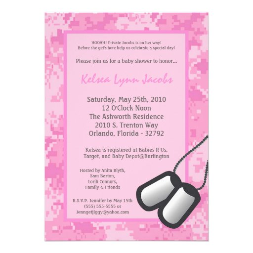 5x7 Girl ARMY Camo ACU Prin Baby Shower Invitation Personalized Announcement