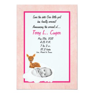 5x7 Girl Circle PHOTO on Cloud Birth Announcement