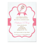 5x7 Girl Pink Baby Rattle Baby Shower Invitation