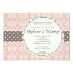 5x7 Girl Pink Damask Lace Baby Shower Invitation