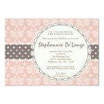 5x7 Girl Pink Damask Lace Bridal Shower Invitation