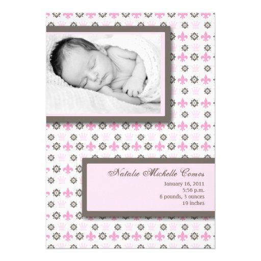 5x7 Girl Pink Fleur De Li Photo Birth Announcement