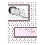 5x7 Girl Pink Fleur De Li Photo Birth Announcement Custom Invitation