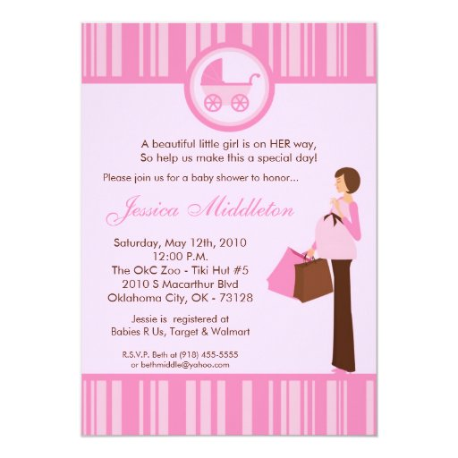 5x7 Girl Pink Mom Carriage Baby Shower Invitation