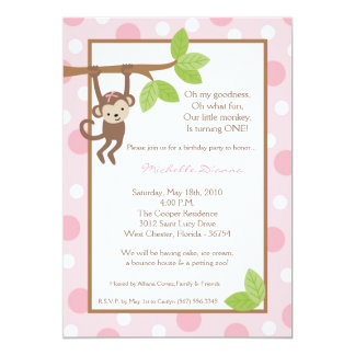 5x7 Girl Pink Monkey Jungle Birthday Invitation