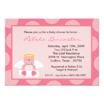 5x7 Girl Pink Polka Dot Pig Baby Shower Invitation
