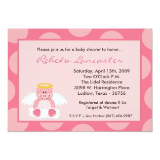 "5x7 Girl Pink Polka Dot Pig Baby Shower Invitation 5"" X 7"" Invitation Card"