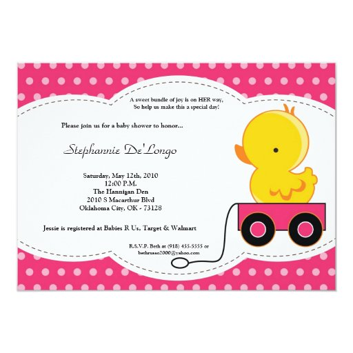 5x7 Girl Pink Polkadot Duck Baby Shower Invitation
