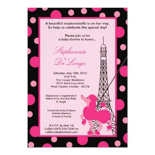 5x7 girl pink poodle paris baby shower invitation zazzle