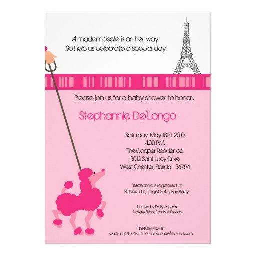 poodle paris baby shower invitation 5 x 7 invitation card z