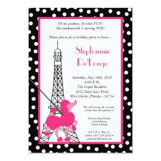 5x7 Girl Pink Poodle Paris Birthday Par Invitation