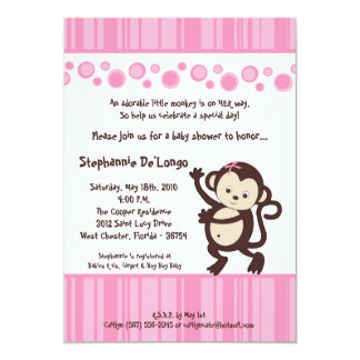 5x7 Girl Pink Pop Monkey Baby Shower Invitation