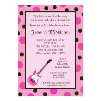5x7 Girl Pink Rocker Guitar Baby Shower Invitation