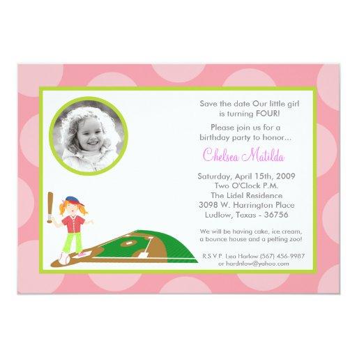 5x7 Girl Pink Soft Ball Birthday Shower Invitation