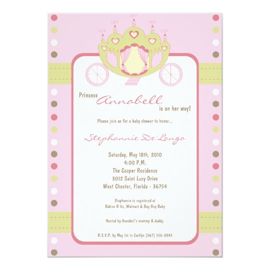 5x7 Girl Princess Carriage Baby Shower Invitation