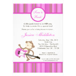 5x7 Girl Punk Rocker Monkey Baby Shower Invitation