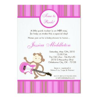 5x7 Girl Punk Rocker Monkey Baby Shower Invitation