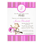 5x7 Girl Rocker Monkey Birthday Party Invitation