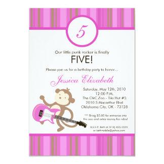 5x7 Girl Rocker Monkey Birthday Party Invitation