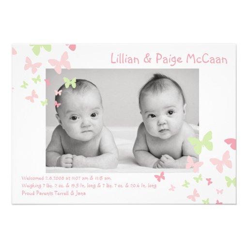 5x7 Girl Twins Butterfly Photo Birth Announcement