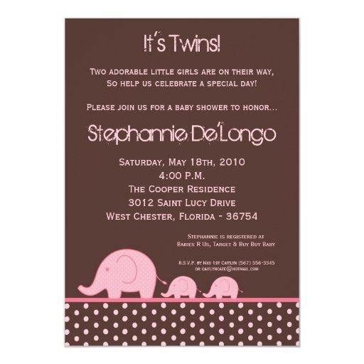 5x7 Girl Twins Mod Elephant Baby Shower Invitation Personalized Invitations
