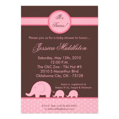5x7 Girl Twins Mod Elephant Baby Shower Invitation