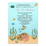 5x7 Girl Under the Sea  Birthday Party Invitation