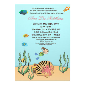 "5x7 Girl Under the Sea  Birthday Party Invitation 5"" X 7"" Invitation Card"