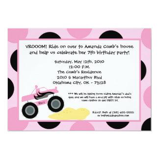 5x7 Girly 4x4 ATV Truck Birthday Party Invitation