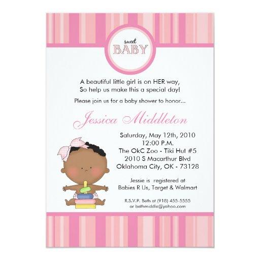 5x7 Girly African Baby Girl Baby Shower Invitation