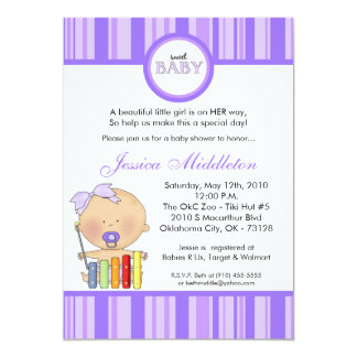 5x7 Girly Caucasi Baby Girl Baby Shower Invitation