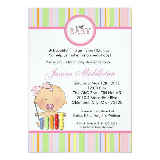 "5x7 Girly Caucasi Baby Girl Baby Shower Invitation 5"" X 7"" Invitation Card"