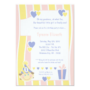 one year old birthday baby girl shower invitations zazzle