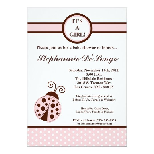 5x7 Girly Pink Lady Bug Baby Shower Invitation