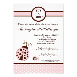 5x7 Girly Pink Lady Bug Baby Shower Invitation